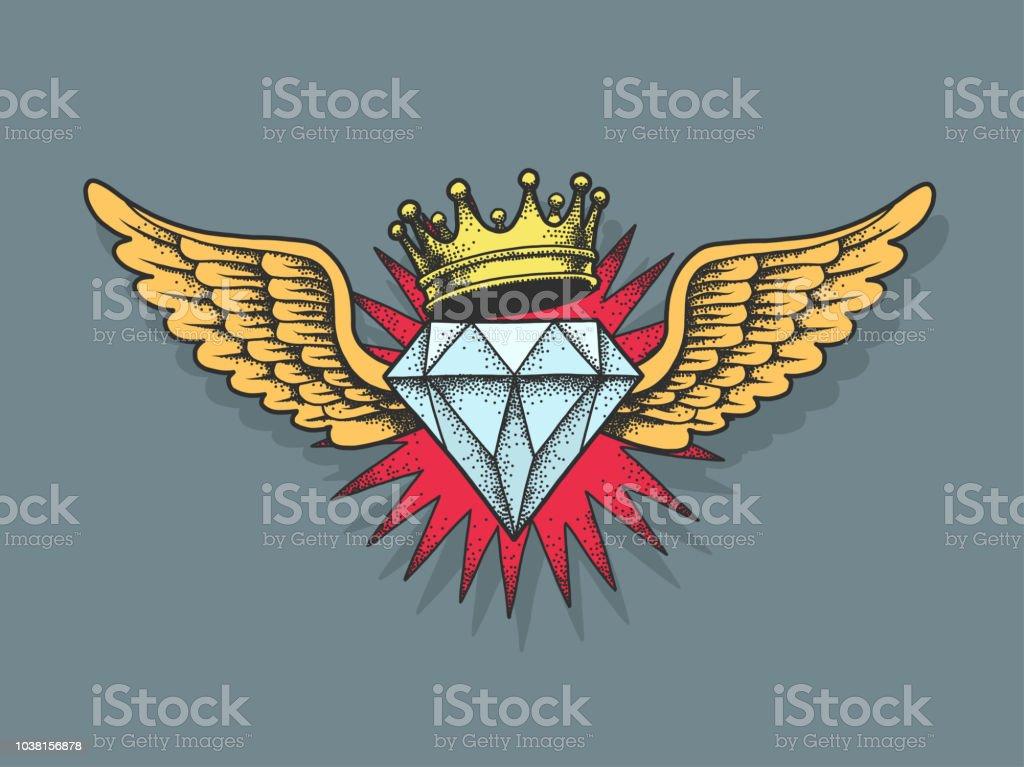 Vetores De Diamante Com Asas E Coroa E Mais Imagens De