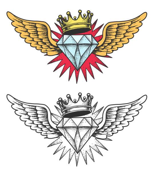 ilustraciones, imágenes clip art, dibujos animados e iconos de stock de diamante con alas y corona. - tatuajes de diamantes