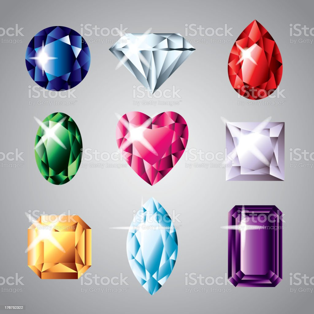 diamonds and gemstones set royalty-free stock vector art