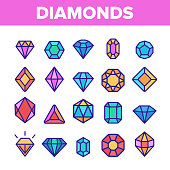 Diamonds, Gems Vector Thin Line Icons Set. Diamonds, Gems Cutting Types Linear Pictograms. Precious Stones, Gemstones Shapes, Jewelry Crystals with Geometric Facets Contour Illustrations