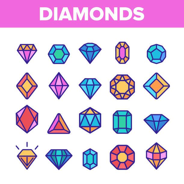 ilustrações de stock, clip art, desenhos animados e ícones de diamonds, gems vector thin line icons set - jóias