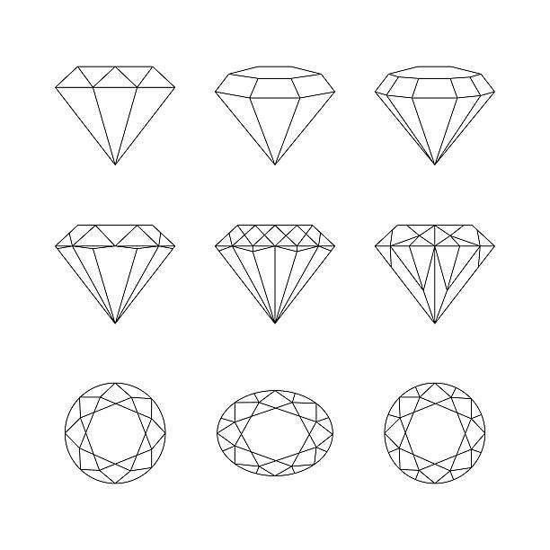 diamonds, gemstones faceting vector patterns on a white backgrou - diamond shaped stock illustrations, clip art, cartoons, & icons