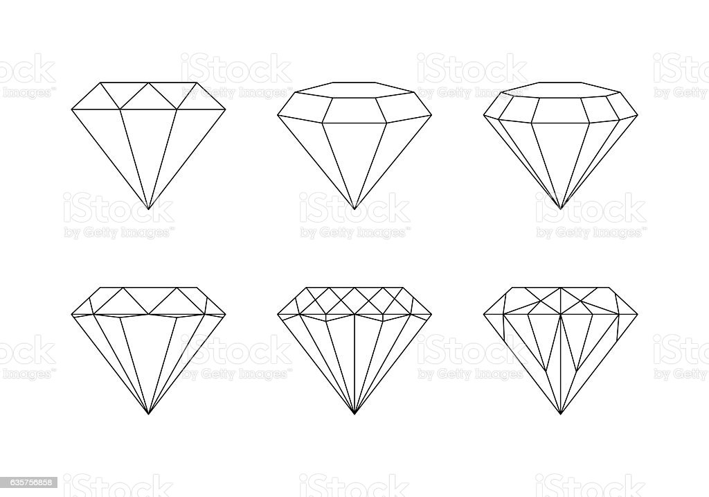 Diamonds, gemstones faceting vector patterns on a white backgrou vector art illustration