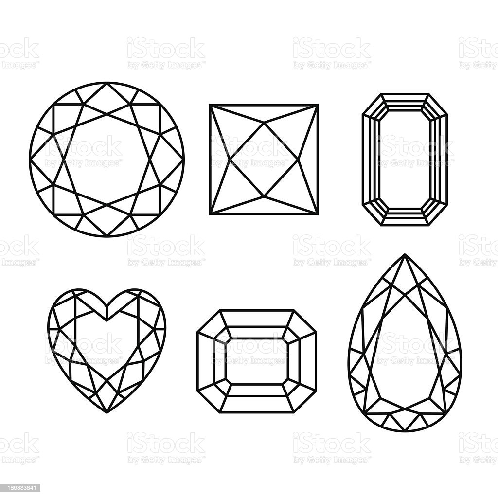 Diamonds wireframe on white background royalty-free stock vector art