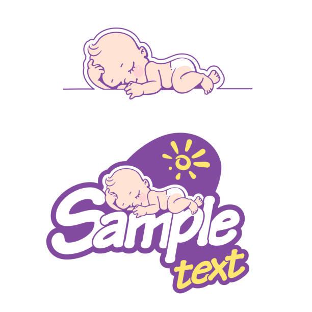 bildbanksillustrationer, clip art samt tecknat material och ikoner med blöja logotyp mall. bebis i blöja emblem. - baby sleeping