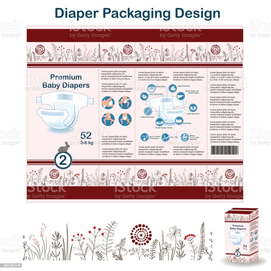 Diaper packaging design elements in doodle forest style. Nappy pakaging design for size 2, with floral border and hare. vector art illustration