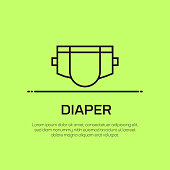 Diaper Vector Line Icon - Simple Thin Line Icon, Premium Quality Design Element