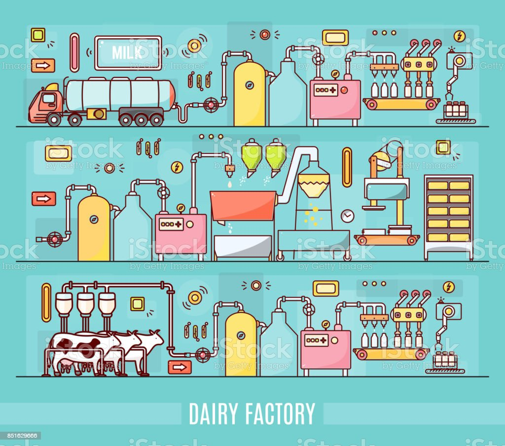 Diary factory vector illustration in linear style vector art illustration