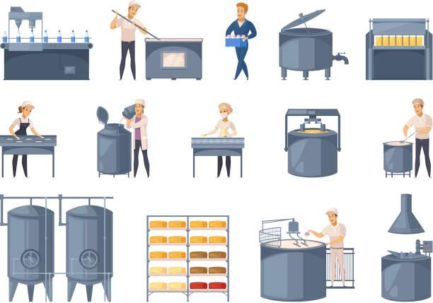 ilustrações, clipart, desenhos animados e ícones de conjunto de desenho animado de produção diário - misturando