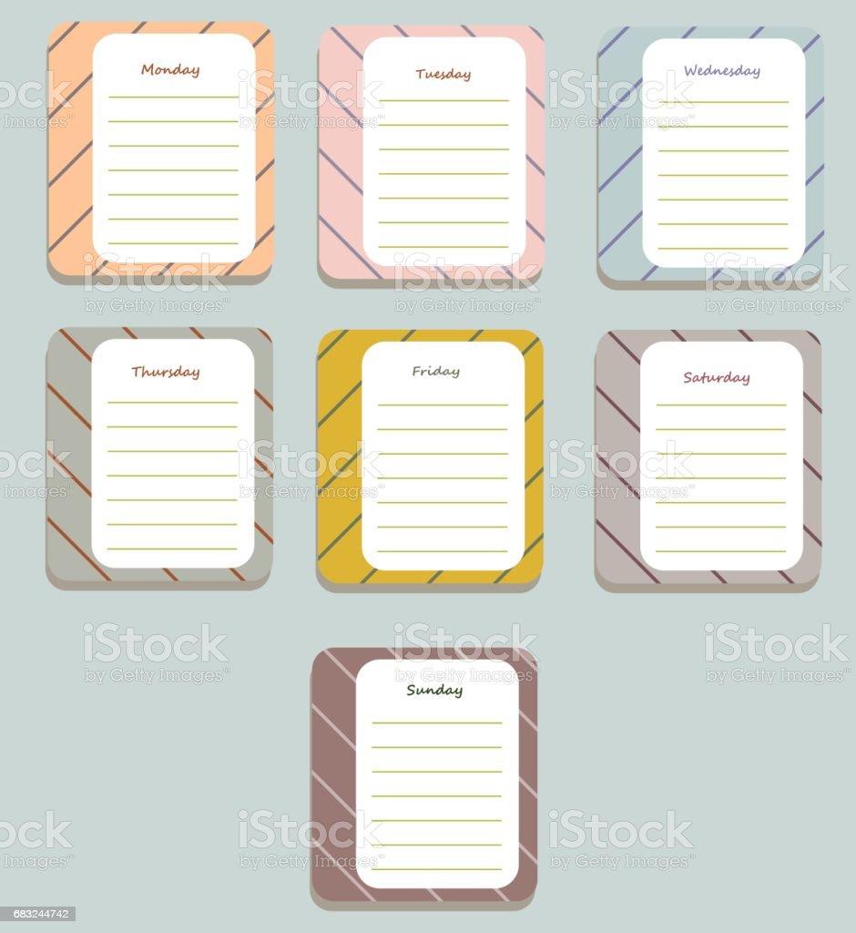 Diary1 免版稅 diary1 向量插圖及更多 一週 圖片