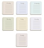 The sheets of the planner in a cute polka dots. Diary.To Do List. The names of the days of the week. Cute texture. The Style Of Provence. Gentle colors. Vector illustration.