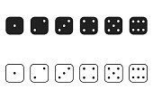 Dice cube flat collection, craps vector icon set.