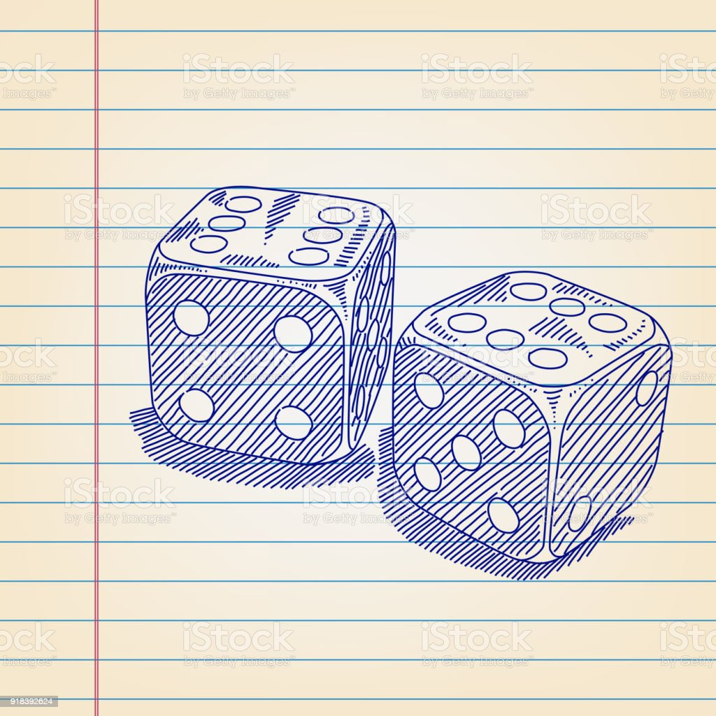 drawing games paper Dice Drawing On Lined Paper Stock Illustration Download