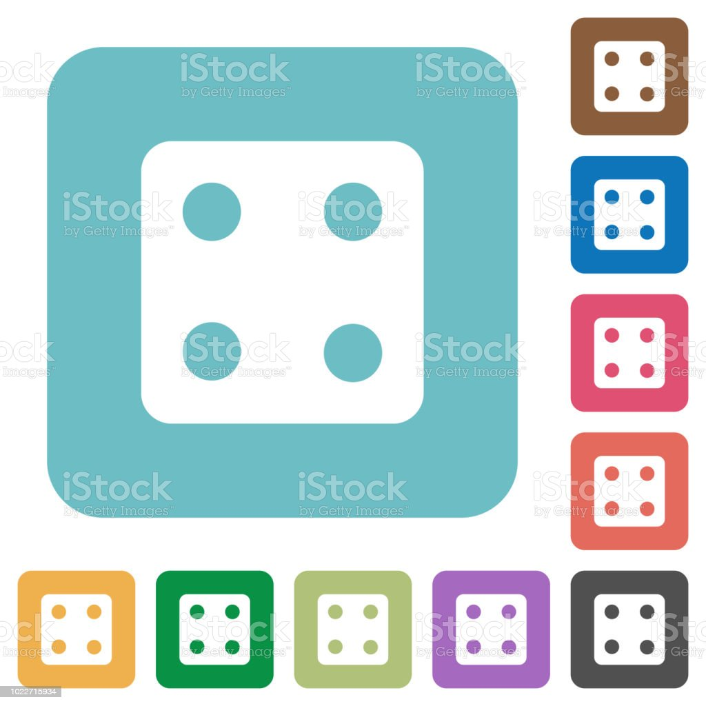 Dice four rounded square flat icons