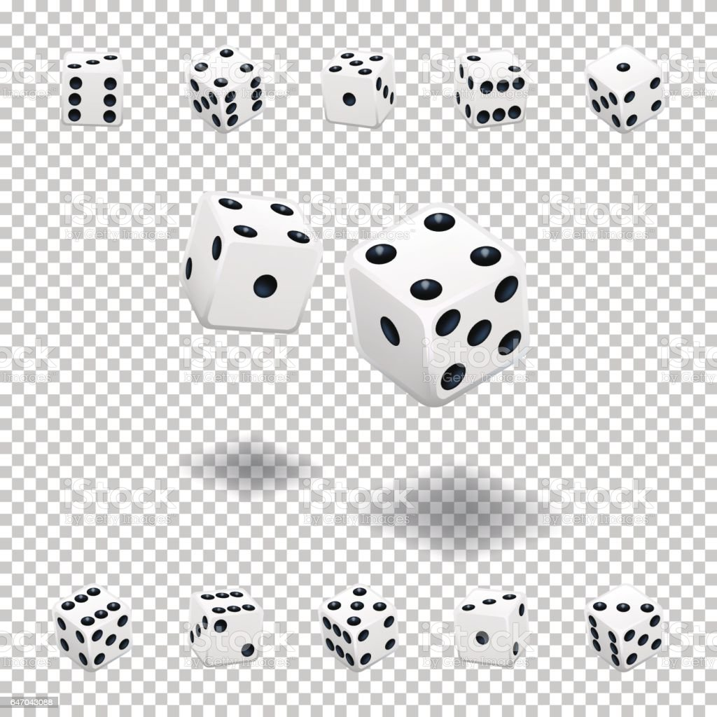 Dice gambling. White cubes in different positions on transparent background. vector art illustration