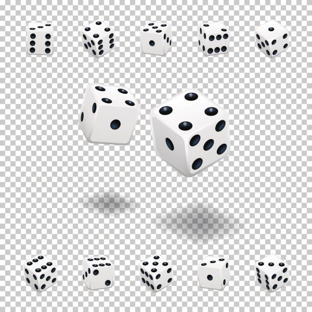 dice gambling. white cubes in different positions on transparent background. - dice stock illustrations, clip art, cartoons, & icons