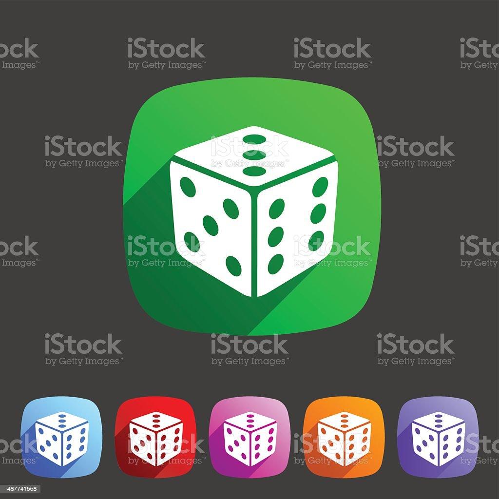 Dice game cube icon flat web sign symbol logo label vector art illustration