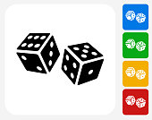 Dice Icon. This 100% royalty free vector illustration features the main icon pictured in black inside a white square. The alternative color options in blue, green, yellow and red are on the right of the icon and are arranged in a vertical column.