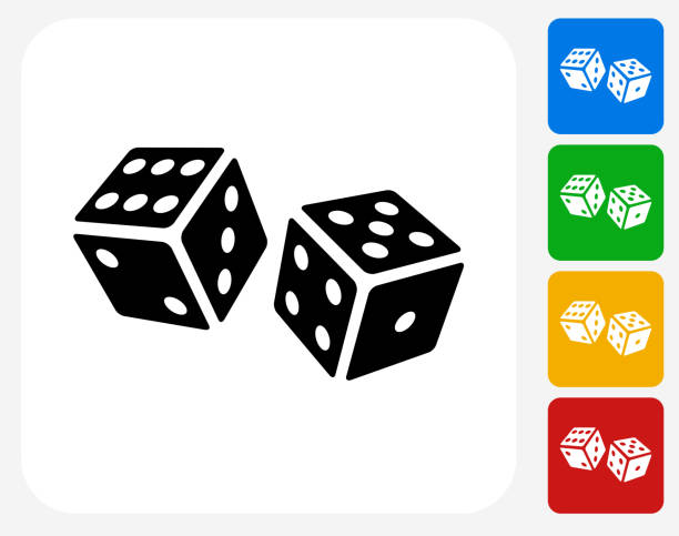 stockillustraties, clipart, cartoons en iconen met dice icon flat graphic design - dobbelsteen