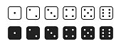 Dice icon for game, set isolated vector sign symbol in flat