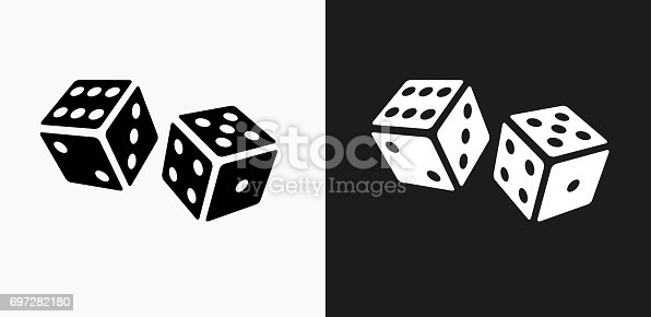 Dice Icon on Black and White Vector Backgrounds. This vector illustration includes two variations of the icon one in black on a light background on the left and another version in white on a dark background positioned on the right. The vector icon is simple yet elegant and can be used in a variety of ways including website or mobile application icon. This royalty free image is 100% vector based and all design elements can be scaled to any size.