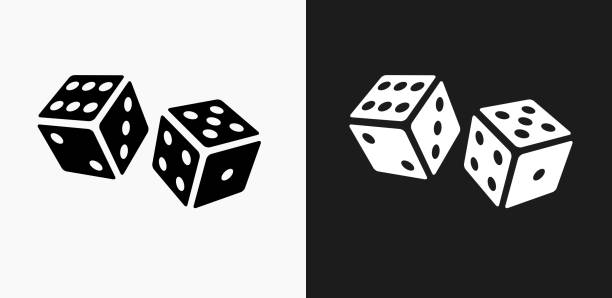 Dice Icon on Black and White Vector Backgrounds Dice Icon on Black and White Vector Backgrounds. This vector illustration includes two variations of the icon one in black on a light background on the left and another version in white on a dark background positioned on the right. The vector icon is simple yet elegant and can be used in a variety of ways including website or mobile application icon. This royalty free image is 100% vector based and all design elements can be scaled to any size. gambling stock illustrations
