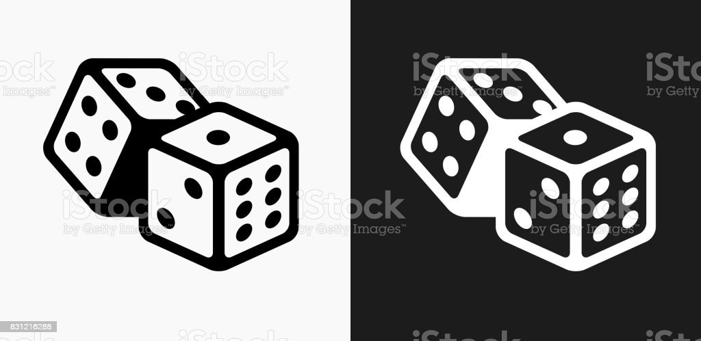 Dice Icon on Black and White Vector Backgrounds vector art illustration