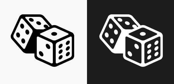 dice icon on black and white vector backgrounds - dice stock illustrations, clip art, cartoons, & icons