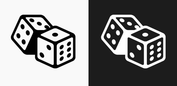 illustrazioni stock, clip art, cartoni animati e icone di tendenza di dice icon on black and white vector backgrounds - gioco dei dadi