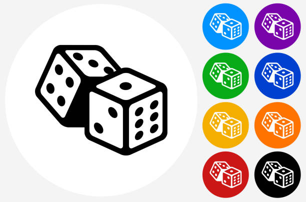 dice icon on flat color circle buttons - dice stock illustrations, clip art, cartoons, & icons