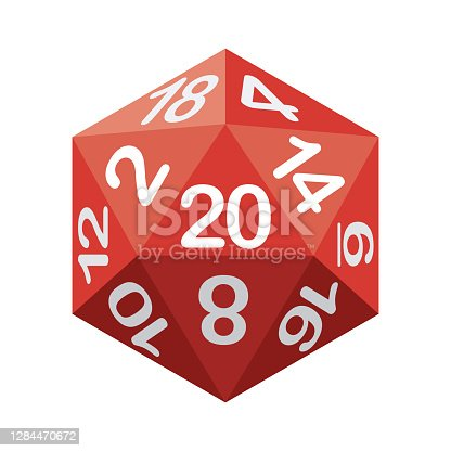 istock D20 Dice Icon on Transparent Background 1284470672