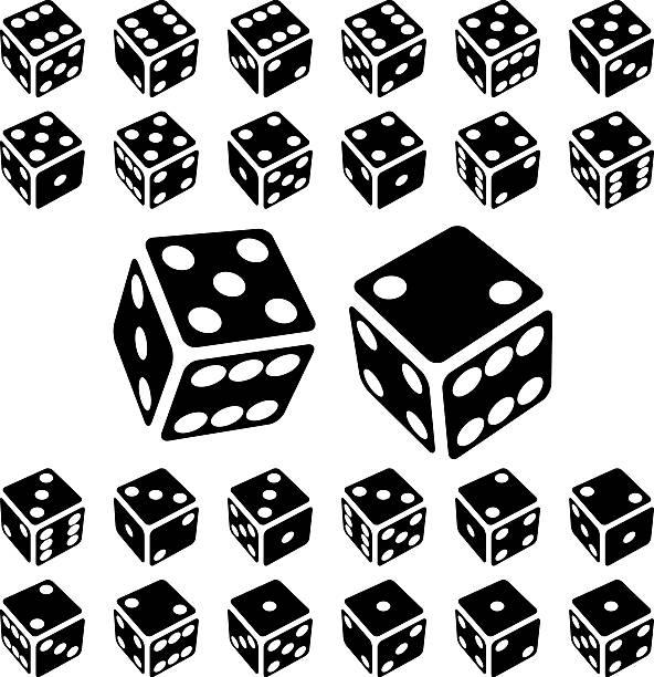 stockillustraties, clipart, cartoons en iconen met dice icon set - dobbelsteen