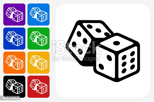 Dice Icon Square Button Set. The icon is in black on a white square with rounded corners. The are eight alternative button options on the left in purple, blue, navy, green, orange, yellow, black and red colors. The icon is in white against these vibrant backgrounds. The illustration is flat and will work well both online and in print.