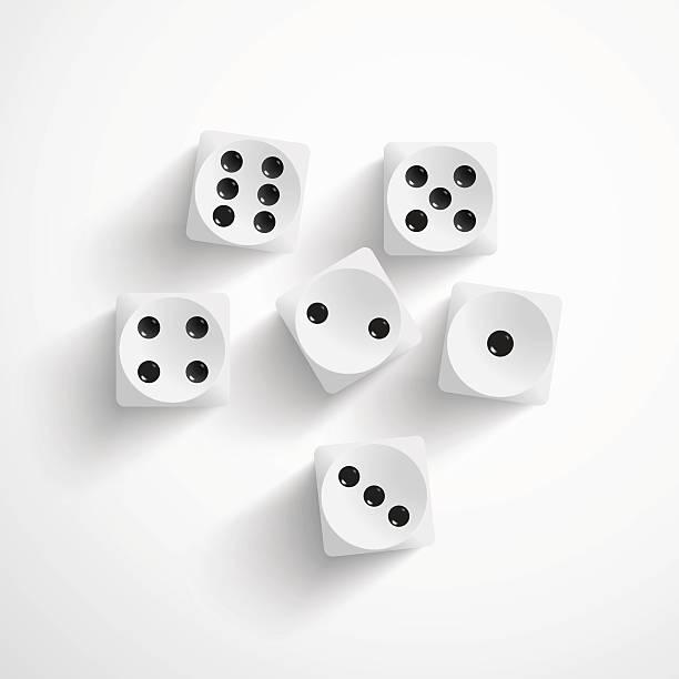illustrazioni stock, clip art, cartoni animati e icone di tendenza di dado su sfondo bianco - gioco dei dadi