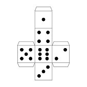 Dice paper template. Craft model for table games. Isolated vector illustration on the white background.