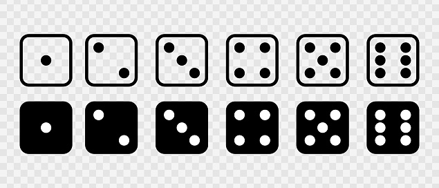 Dice Set vector icon. Game dice. Dice with six faces of cube isolated on transparent background. Vector illustration.