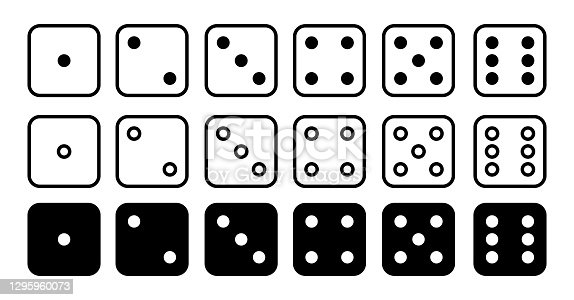 istock Dice set vector icon. Game dice. Six faces of cube isolated on white background. 1295960073