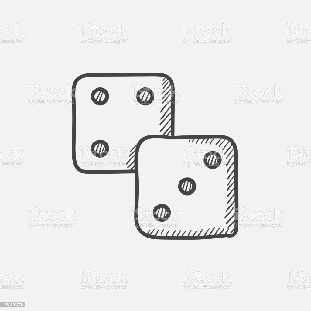 Icono de esbozo de dados - ilustración de arte vectorial