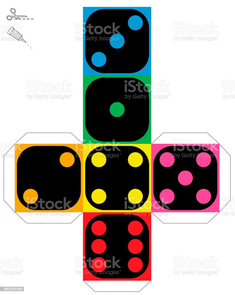 Dice Template Construction Sheet Of A Colorful Cube To Make A
