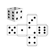 Dice template - model of a white cube to make a three-dimensional handicraft work out of it. Isolated vector illustration on white background.