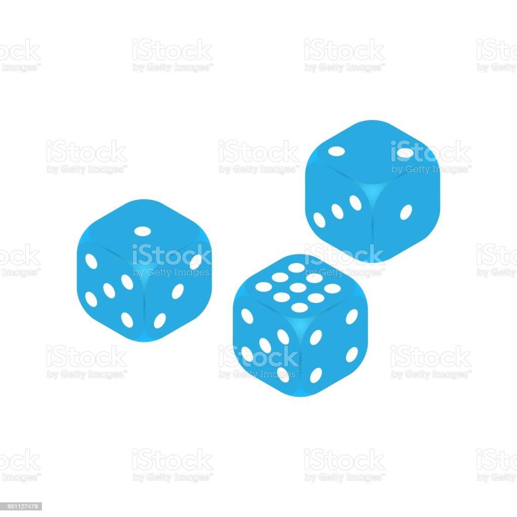 Dice Vector Icon Three Dice Casino Gambling Template Concept Flat ...