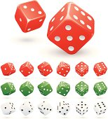 Various rolling dice in red, green and white.
