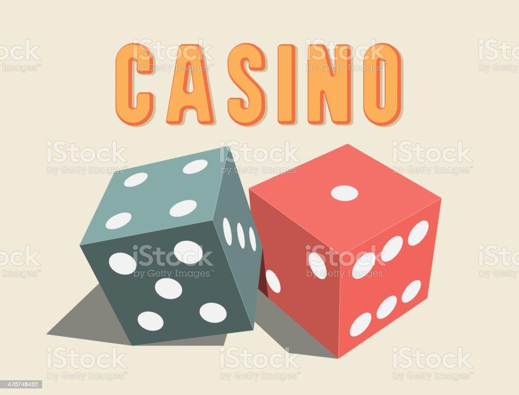3D dices for Casino. vector art illustration
