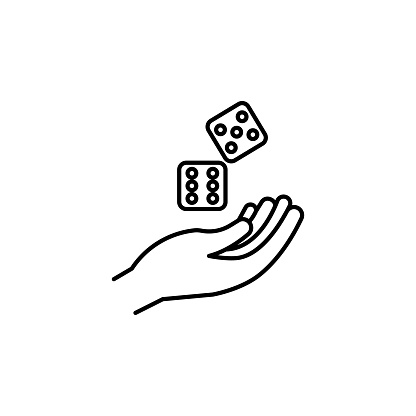 dices line icon. Signs and symbols can be used for web, logo, mobile app, UI, UX