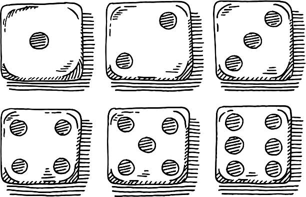Dices Set Top View Drawing Hand-drawn vector drawing of a Dices Set with all possible Throws, Top View. Black-and-White sketch on a transparent background (.eps-file). Included files are EPS (v10) and Hi-Res JPG. game stock illustrations