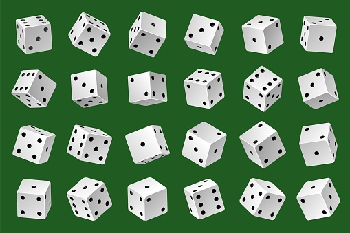 Dices template. Gambling game white 3d cubes with black pips different angles and combinations, online casino random number generator. 24 variations loss dice. Vector realistic set