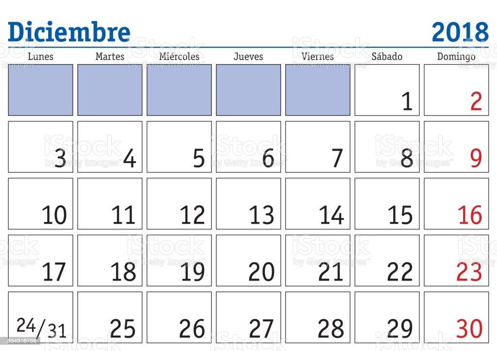 Ilustración de Calendario De Pared De Diciembre 2018 Español y más ...