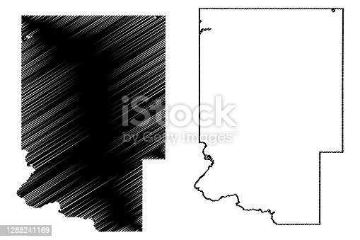 Dickinson County, Michigan (U.S. county, United States of America, USA, U.S., US) map vector illustration, scribble sketch Dickinson map