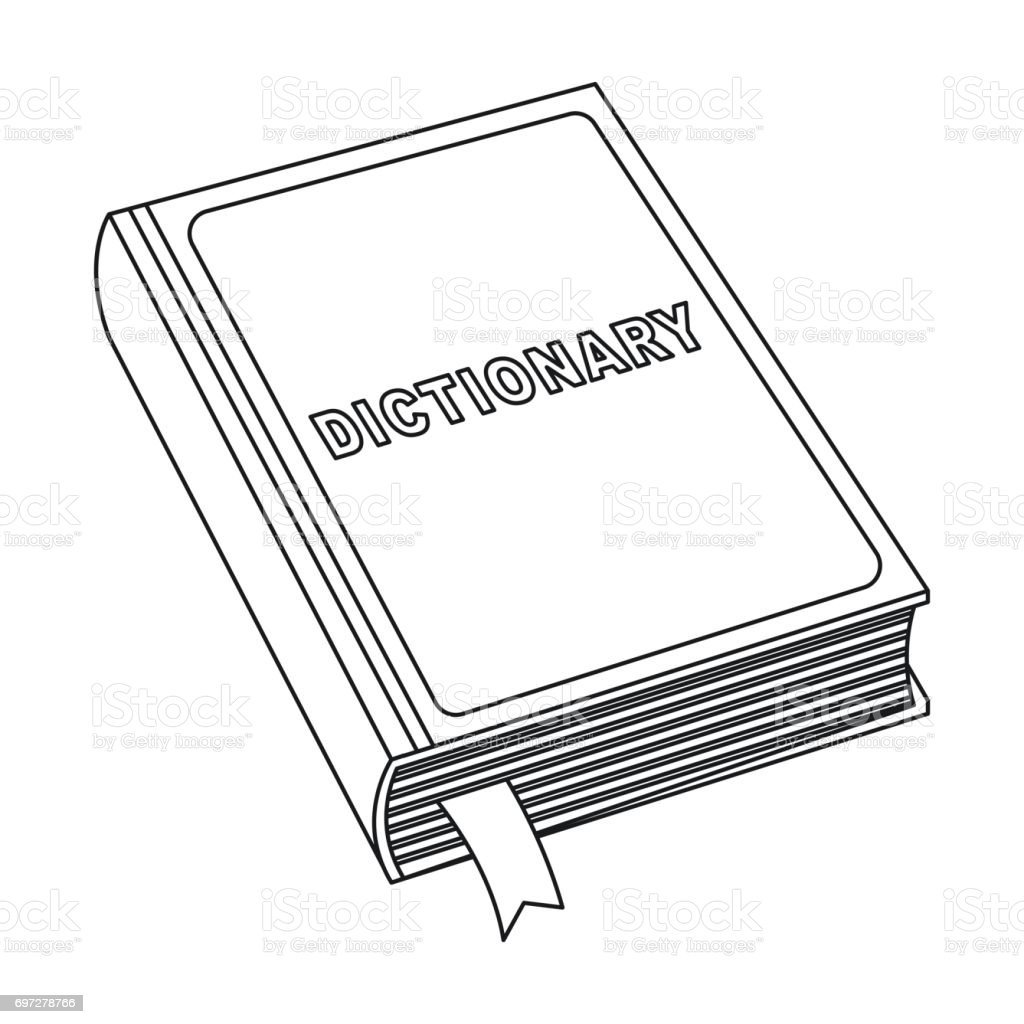 Dictionary Icon In Outline Style Isolated On White Background