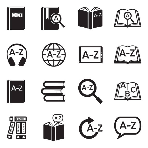 Dictionary Icons. Black Flat Design. Vector Illustration. Vocabulary, Book, Translation dictionary stock illustrations